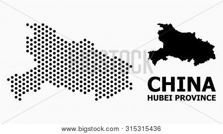 Dotted Map Of Hubei Province Composition And Solid Illustration. Vector Map Of Hubei Province Compos