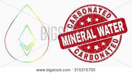 Dot Rainbow Gradiented Crystal Drop Mosaic Icon And Carbonated Mineral Water Stamp. Red Vector Round