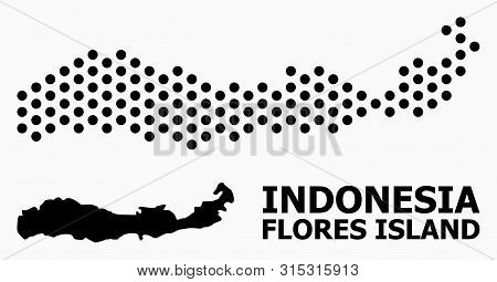 Pixel Map Of Indonesia - Flores Island Composition And Solid Illustration. Vector Map Of Indonesia -