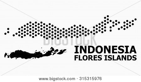 Pixel Map Of Indonesia - Flores Islands Composition And Solid Illustration. Vector Map Of Indonesia