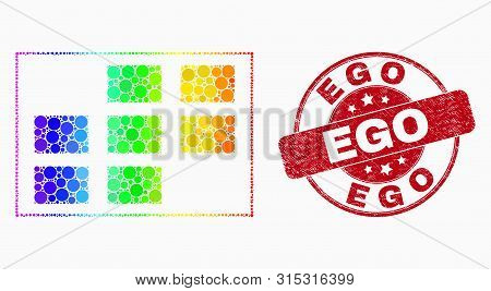 Dot Rainbow Gradiented Grid Cells Mosaic Icon And Ego Seal Stamp. Red Vector Rounded Scratched Seal