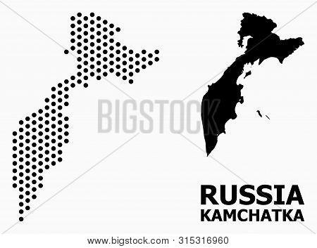 Pixelated Map Of Kamchatka Peninsula Collage And Solid Illustration. Vector Map Of Kamchatka Peninsu