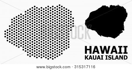 Pixelated Map Of Kauai Island Composition And Solid Illustration. Vector Map Of Kauai Island Composi