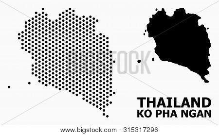 Pixel Map Of Ko Pha Ngan Composition And Solid Illustration. Vector Map Of Ko Pha Ngan Combination O