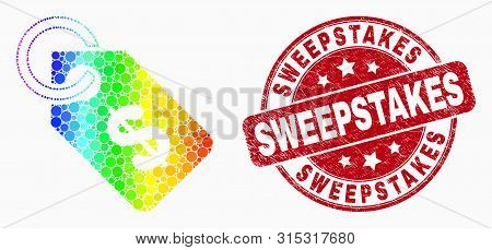 Dot Rainbow Gradiented Price Tag Mosaic Icon And Sweepstakes Seal Stamp. Red Vector Rounded Scratche