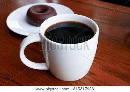 Coffee, Americano Or Hot Americano And Donut
