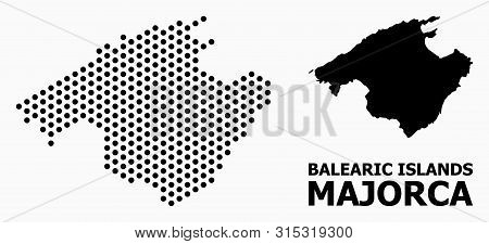 Dot Map Of Majorca Composition And Solid Illustration. Vector Map Of Majorca Composition Of Round Pi