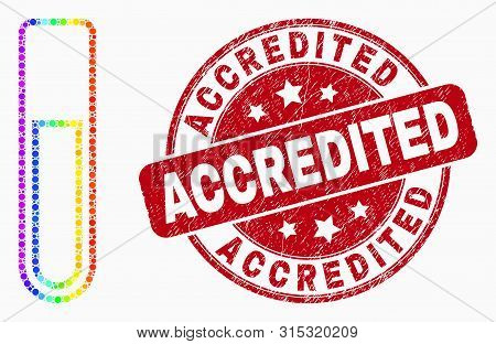Dot Spectral Test-tube Mosaic Icon And Accredited Seal Stamp. Red Vector Rounded Textured Stamp With