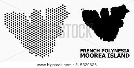 Dotted Map Of Moorea Island Composition And Solid Illustration. Vector Map Of Moorea Island Composit