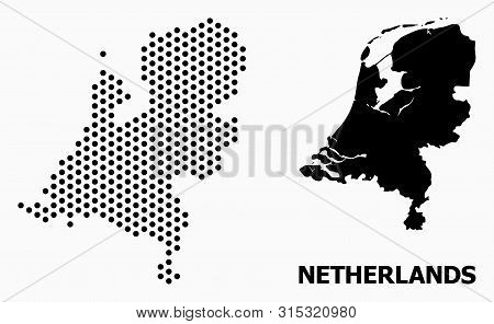 Dotted Map Of Netherlands Composition And Solid Illustration. Vector Map Of Netherlands Composition