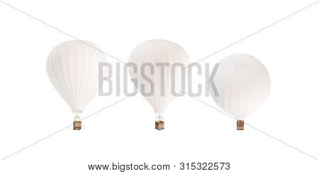 Blank White Balloon With Hot Air Mockup Set, Sides, 3d Rendering. Empty Journey Baloon With Basket F