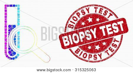 Dotted Rainbow Gradiented Explore Test-tube Mosaic Pictogram And Biopsy Test Stamp. Red Vector Round