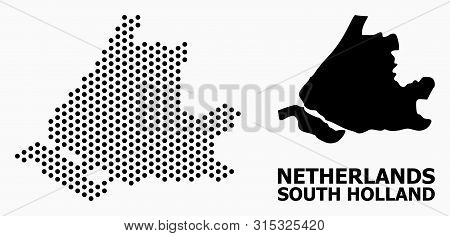 Dotted Map Of South Holland Composition And Solid Illustration. Vector Map Of South Holland Composit