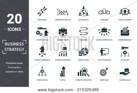 Business Strategy Icon Set. Contain Filled Flat Business Vision, Business Value, Brand Strategy, Bus