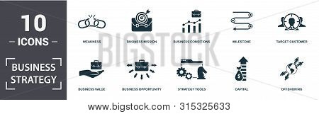 Business Strategy Icon Set. Contain Filled Flat Business Vision, Business Mission, Business Forecast