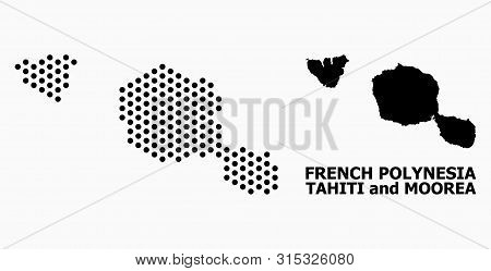 Pixelated Map Of Tahiti And Moorea Islands Composition And Solid Illustration.
