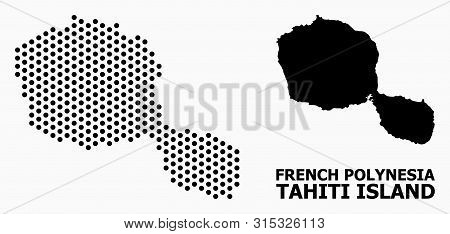 Dotted Map Of Tahiti Island Composition And Solid Illustration. Vector Map Of Tahiti Island Composit