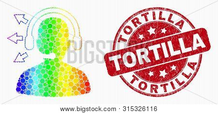 Dotted Rainbow Gradiented Radio Operator Mosaic Icon And Tortilla Seal Stamp. Red Vector Rounded Dis