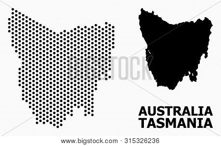Pixel Map Of Tasmania Island Composition And Solid Illustration. Vector Map Of Tasmania Island Compo