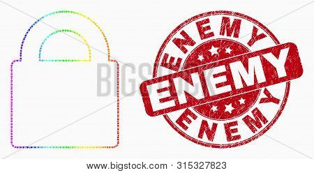 Dotted Spectral Lock Mosaic Pictogram And Enemy Seal. Red Vector Round Distress Seal With Enemy Phra