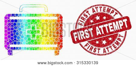 Dotted Spectrum First Aid Case Mosaic Pictogram And First Attempt Seal Stamp. Red Vector Round Distr