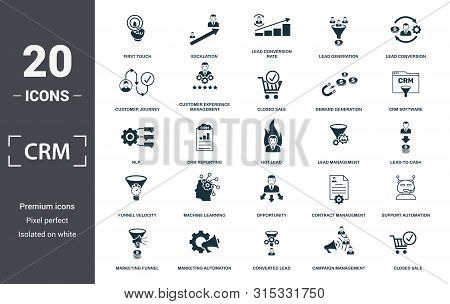 Crm Icon Set. Contain Filled Flat Campaign Management, Closed Sale, Converted Lead, Crm Software, Cu