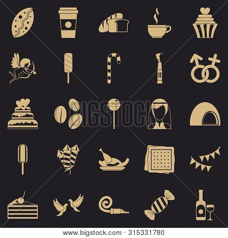 Sugary Food Icons Set. Simple Set Of 25 Sugary Food Icons For Web For Any Design