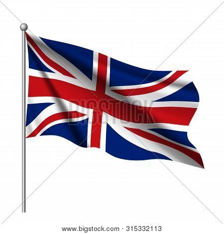 Great Britain, United Kingdom Flag. Uk Flag Icon. Waving Flag Of United Kingdom. Great Britain Wavin