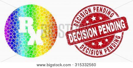 Pixel Bright Spectral Rx Receipt Symbol Mosaic Icon And Decision Pending Watermark. Red Vector Round