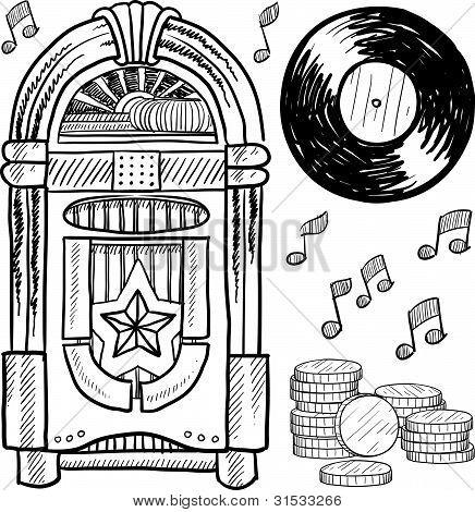 Vintage jukebox sketch