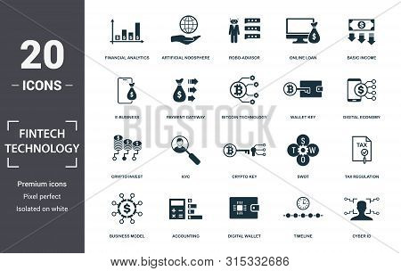 Fintech Technology Icon Set. Contain Filled Flat Basic Income, Bitcoin Technology, Tax Regulation, A