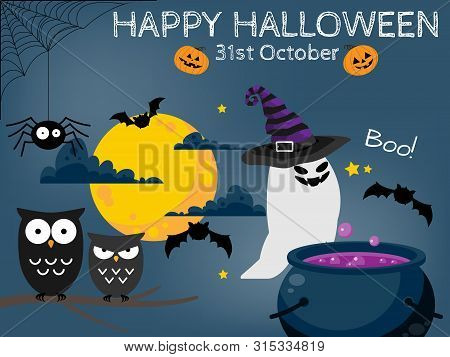 Halloween Background With Halloween Elements And Happy Halloween Text. Invitation To Party Or Greeti