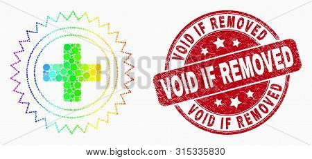 Pixel Spectral Medical Cross Mosaic Icon And Void If Removed Stamp. Red Vector Round Scratched Water