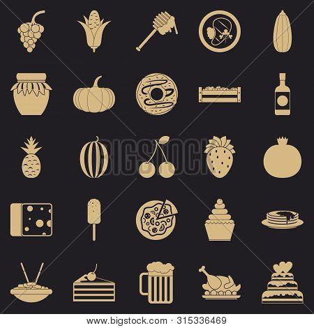 Gastronomic Pleasure Icons Set. Simple Set Of 25 Gastronomic Pleasure Icons For Web For Any Design