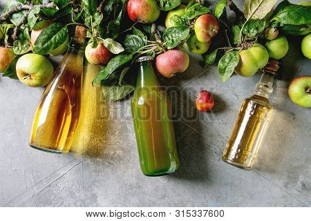 Variety Of Apple Drinks. Bottles Of Apple Juice, Vinegar And Cider With Garden Apples With Leaves An