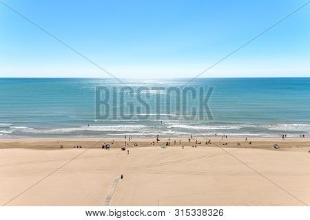 Sandy Beach In Cullera, Spain, Stock Picture