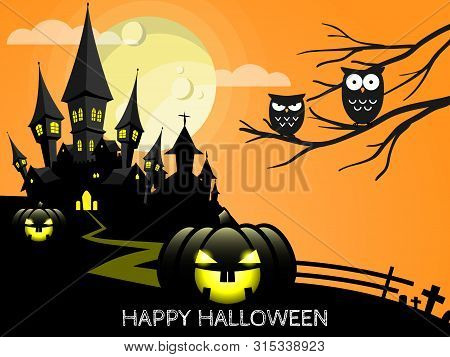 Halloween Creepy Forest With Haunted House, Jack O Lantern And Full Moon And Happy  Halloween Text.
