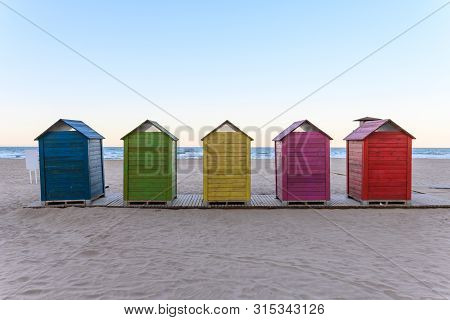 Beach Huts In Cullera, Spain, Stock Picture