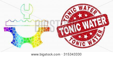 Pixelated Spectral Plumbery Service Mosaic Icon And Tonic Water Seal Stamp. Red Vector Round Scratch