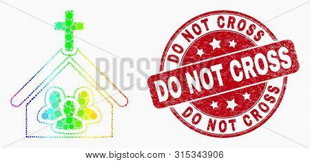 Pixelated Spectrum Church People Mosaic Pictogram And Do Not Cross Stamp. Red Vector Round Distress