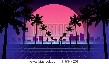 80s Retro Future. Retro Futuristic Background 1980s Style. Road To The City At Sunset 1980s Style. D