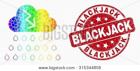 Pixelated Spectrum Storm Cloud Mosaic Icon And Blackjack Seal. Red Vector Rounded Scratched Seal Sta