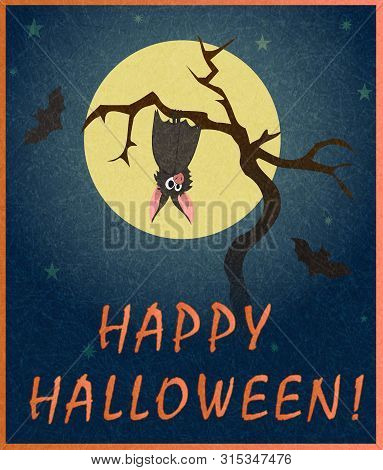 Cute Grey Bat Hanging On A Dry Tree On Background Of Full Moon. Stylish Colorful Illustration Of Hap