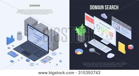 Domain Banner Set. Isometric Set Of Domain Banner For Web Design