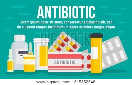 Medical Antibiotic Concept Banner. Flat Illustration Of Medical Antibiotic Vector Concept Banner For