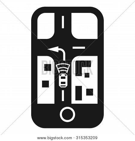 Smartphone Autopilot Car Tracking Icon. Simple Illustration Of Smartphone Autopilot Car Tracking Vec