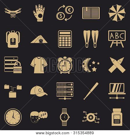 Evening Classes Icons Set. Simple Set Of 25 Evening Classes Icons For Web For Any Design