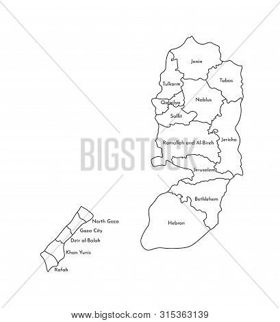Vector Isolated Illustration Of Simplified Administrative Map Of Palestine. Borders And Names Of The
