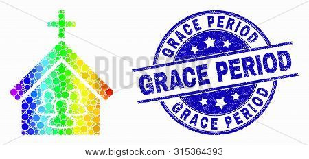Pixelated Rainbow Gradiented Church People Mosaic Icon And Grace Period Seal Stamp. Blue Vector Roun
