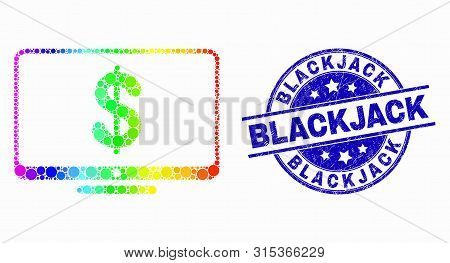 Pixelated Spectrum Financial Display Mosaic Icon And Blackjack Stamp. Blue Vector Rounded Scratched